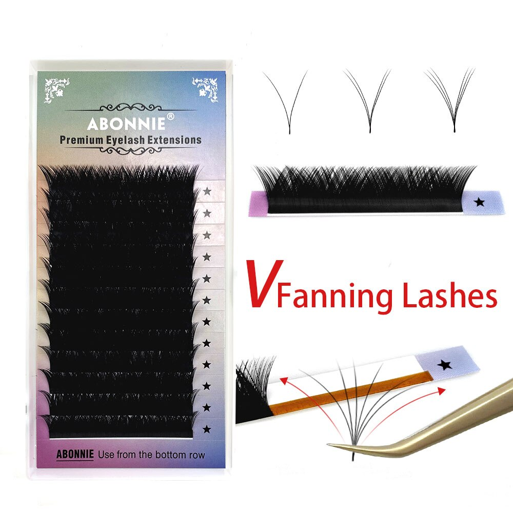 Abonnie V Lashes Easy Fan Eyelashes Extension Auto Fan Lashes Tray Fast Fanning Eyelash Extention Ca