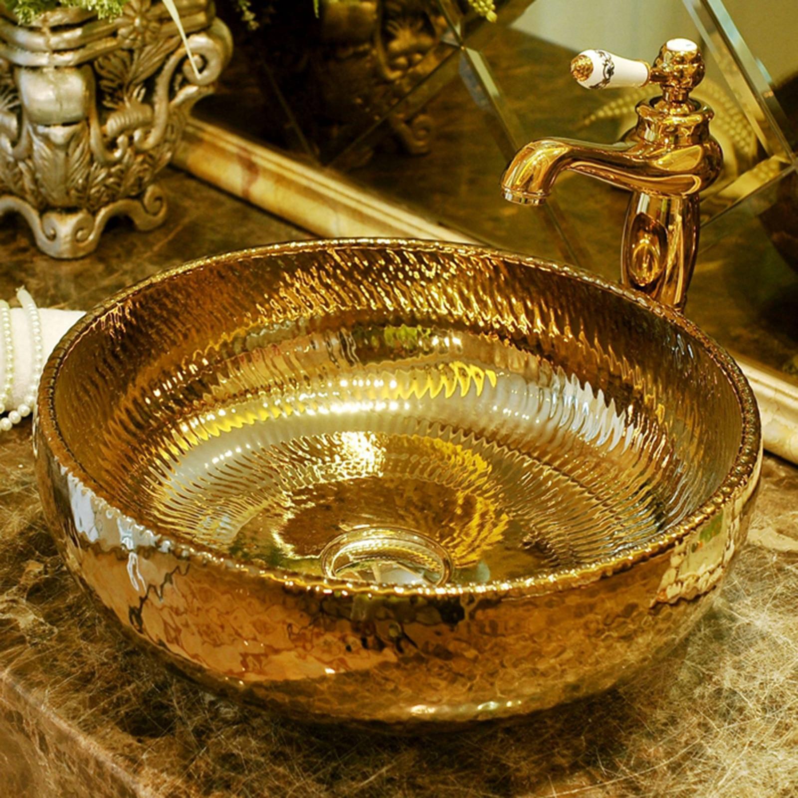 شحن مجاني فاخر يدوية الصنع السيراميك الذهب المزجج الخزف الفن الحمام حوض غسيل حوض السفينة