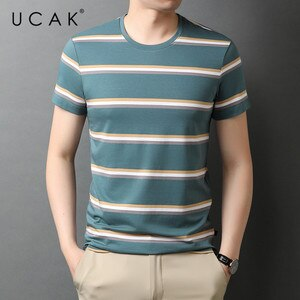 UCAK Brand Classic O-Neck Striped Short Sleeve T-Shirts Summer New Fashion Arrivals Streetwear Tops Casual T Shirt Homme U5553