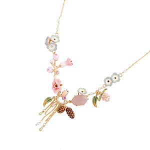 New product trend fashion exaggerated diamond-studded enamel glaze flower necklace female new copper gold-plated tassel pendant