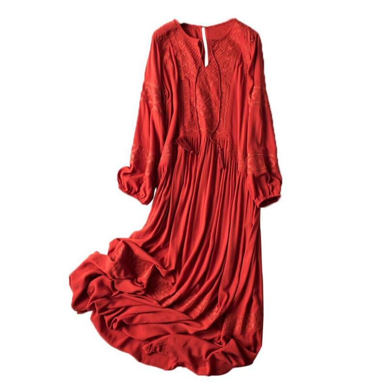 New 2019 Elegant Summer Dress Women High Quality Home Casual dress Red Chiffon Long Sleeves Loose Dresses Lady Wear