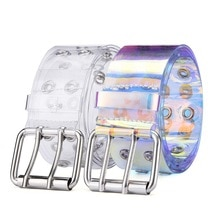 2022 Transparent Two Row PVC Belt Women Fashion Laser Invisible Square Pin Buckle Multihole Dazzling Belts For Ladies Waistband