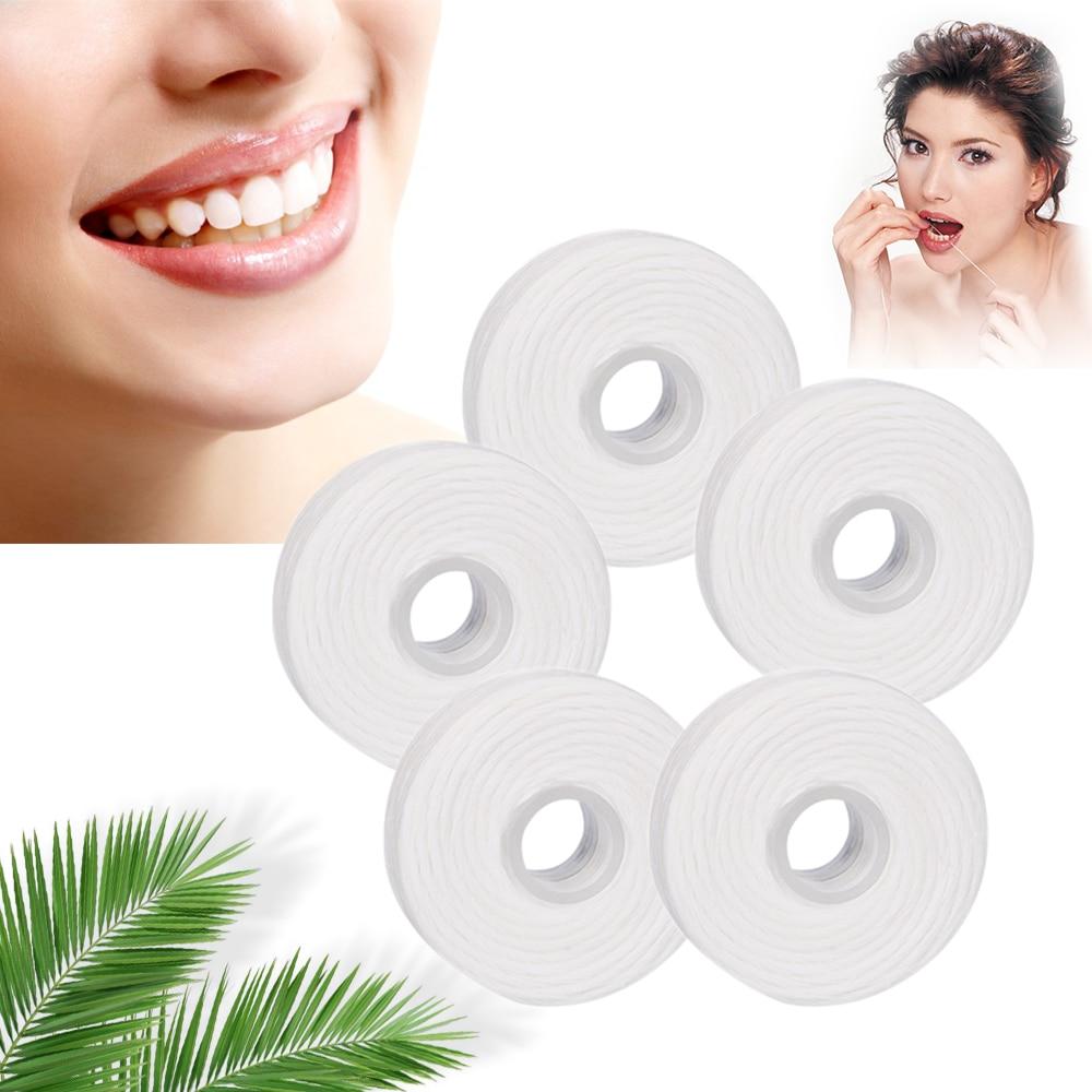 5 Rolls 50m Dental Flosser Oral Hygiene Teeth Cleaning Dental Floss Spool Wax Mint Toothpick Flosser