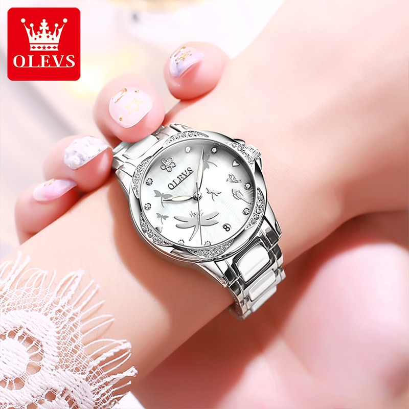 OLEVS 2021 New Fashion Ladies Watch Casual Automatic Mechanical Ceramic Steel Band Waterproof Luminous Pointer Watches 6610 enlarge