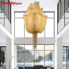Lustres de luxe dorés modernes linting pour lustre de salon avec frange argentée pour lumière en aluminium de chambre à coucher pour cuisine