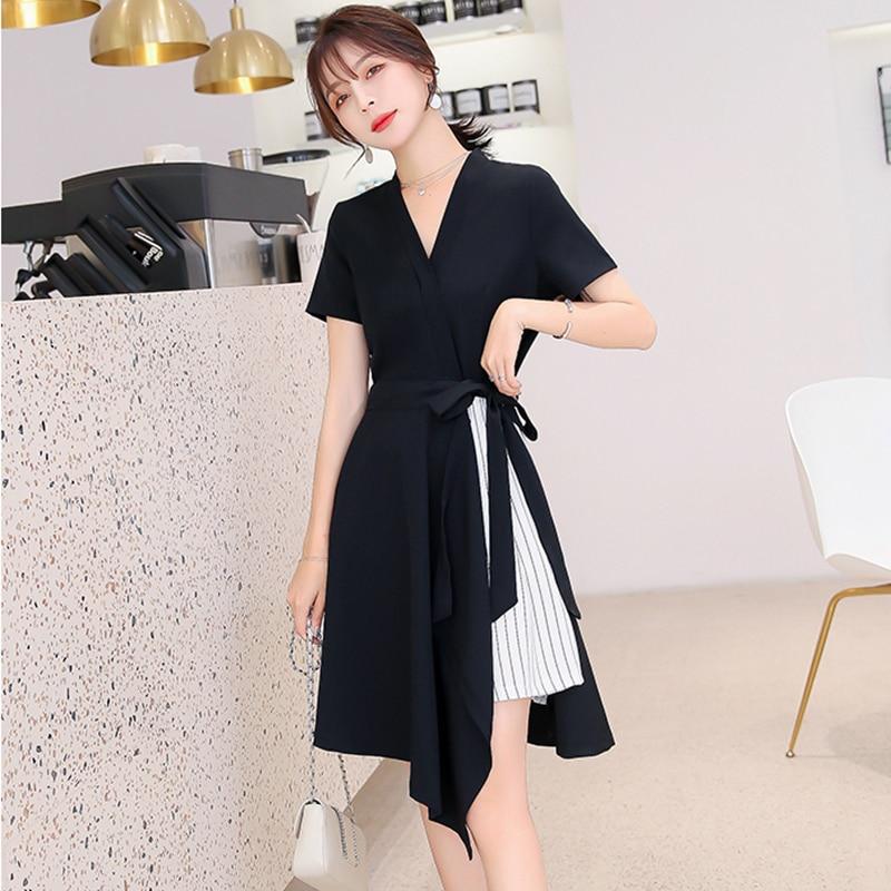 Za ol estilo vestido de verão temperamento moda simples magro jovem vestido de renda vadim vetement com listra roupas de emenda