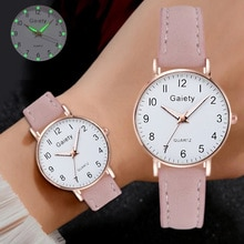 Fashion Luminous Watch For Women Casual Simple Leather Ladies Watch Small Dial Quartz Dress Bracelet