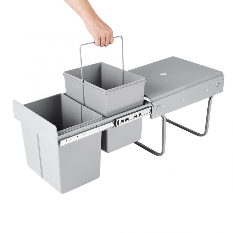 slide rail Pull Out Bin Kitchen Waste Basket Slide Out  Garbage Rubbish Cabinet 2*15L sliding track