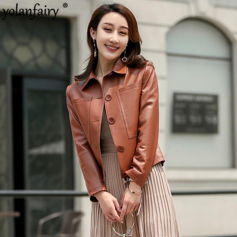 2020 casaco de pele carneiro primavera jaqueta de couro genuíno das mulheres outono coreano casual jaquetas de couro real veste cuir femme z91757 kj4317