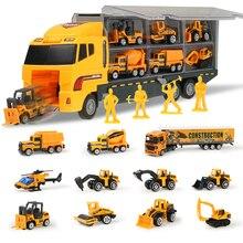 Coolplay 12 pièces/ensemble Mini voiture en alliage moulé sous pression 2in1 modèle ingénierie jouet véhicules transporteur camion avec éjection et porter des cadeaux de fonction