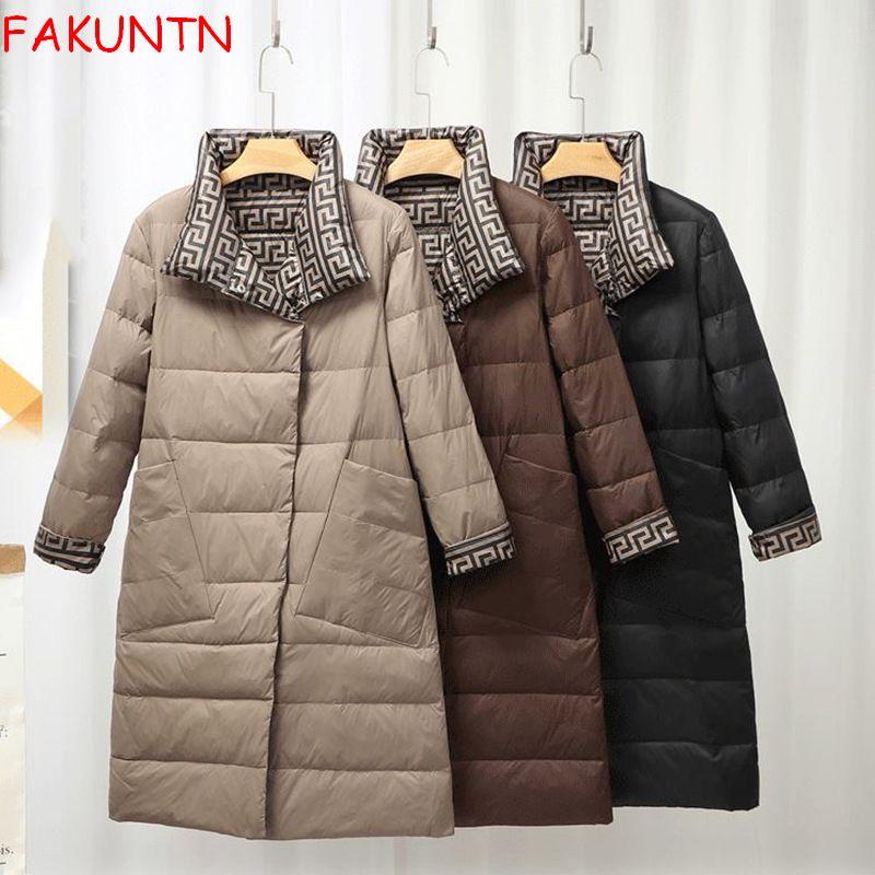 Модная зимняя куртка на белом утином пуху FAKUNTN 2021, женские парки, пальто, женская уличная одежда с обеих сторон, толстые теплые длинные парки