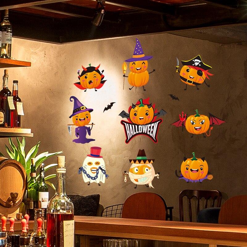 [Shijuekongjian] стеклянные наклейки на Хеллоуин, демоны, летучие мыши, тыква, Наклейки на стены для гостиной, украшения для фестиваля, аксессуары