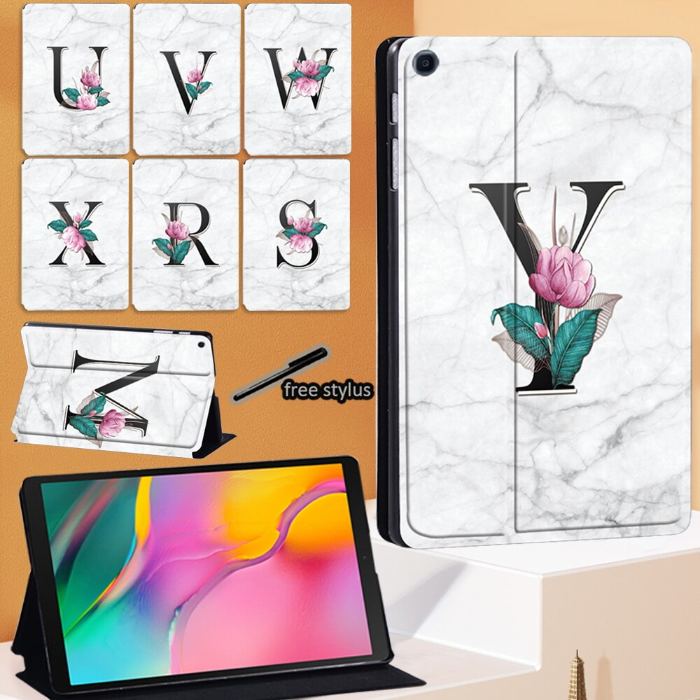 PU Leather Tablet Cover Case for Samsung Galaxy Tab A 8.0 Inch SM-T290 SM-T295 - 26 Letter Pattern Case+ Free Stylus