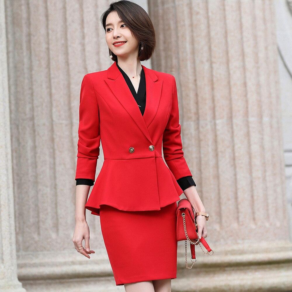 Traje rojo falda traje mujer oficina profesional temperamento Reunión Anual mujeres tejido sintético traje trabajo YS8019108