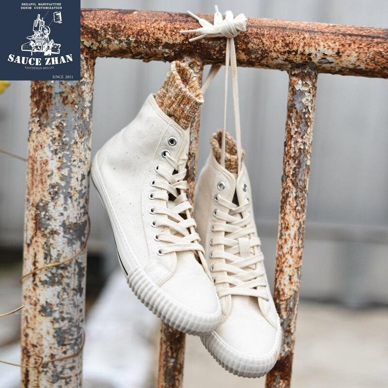 SauceZhan الرجال الأحذية الفلكنة عالية أعلى أحذية رياضية الرجال والنساء أحذية رجالي فلكنيز للزوجين Selvedge الدنيم أحذية رياضية