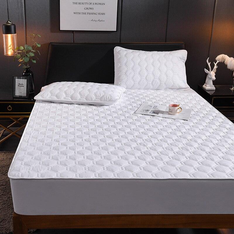 قابل للغسل غطاء السرير الملكة تنفس بلون وردي غطاء مرتبة تنقش مبطن الملك واقي المرتبة دروبشيب
