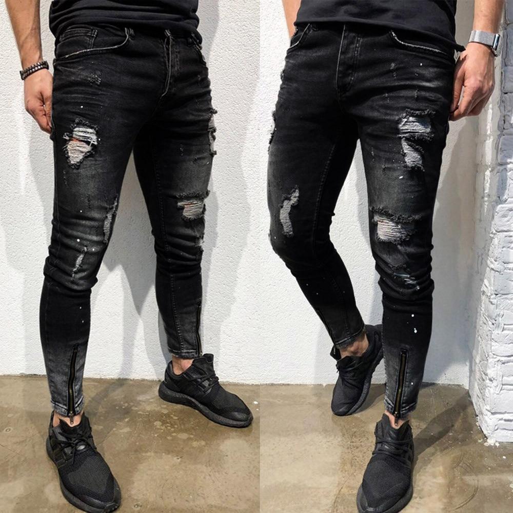 Pantalon Vaquero Para Hombre Mens Denim Stretch pantalones rotos de Freyed pantalones...