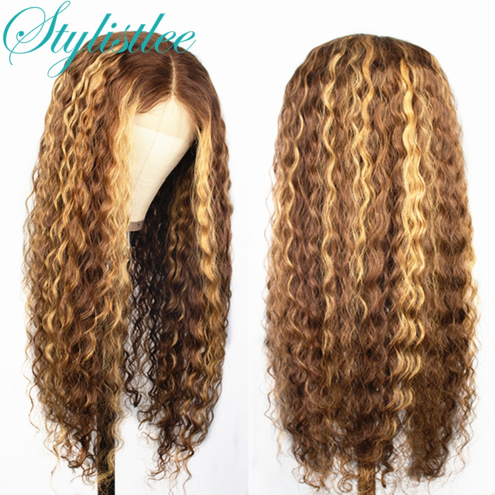 Curly Human Hair Isee Hair Wig Honey Blonde Ombre Lace Front Wigs Brazilian Brown Color Deep Water Wave Highlight Bob 4B/27