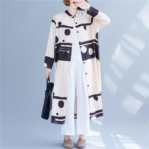 Abrigo literario de lunares, abrigo de algodón de cáñamo para mujer, abrigos y chaquetas, ropa femenina, ropa Casual para mujer, abrigos largos