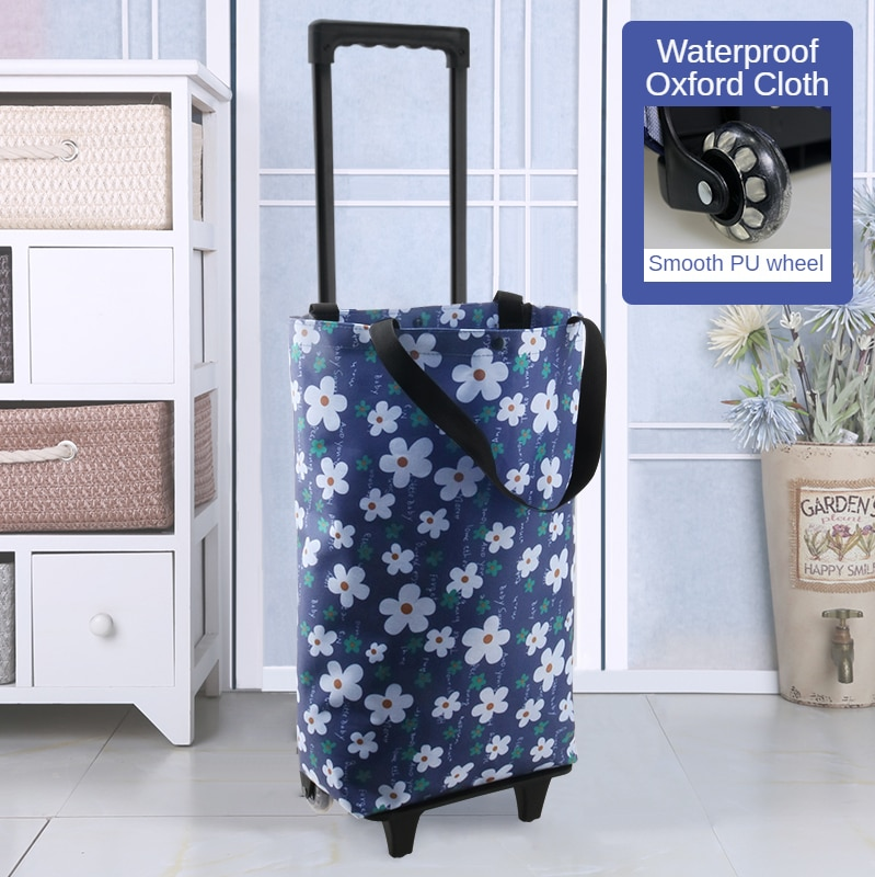 MTONG Fashion Mother Trolley Bag Large Capacity Wheel Folding Metal Shopping Cart Women's Elderly Store Mall Shoulder Bags
