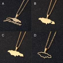 Acier inoxydable chaud jamaïque carte pendentif colliers 4 types de style couleur or jamaïcaine femmes pays carte bijoux cadeau