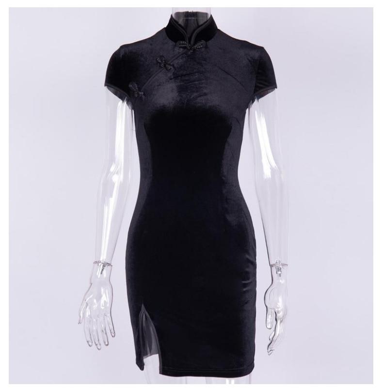 Женское винтажное бархатное платье Qipao, черное или розовое платье в традиционном китайском стиле, в восточном стиле