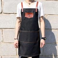 Cowboy apron Korean version of men and women painting barista tea shop waiter printing hairdressing uniform custom logo