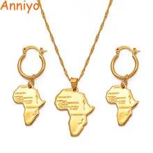 Anniyo carte africaine ensembles de bijoux collier boucles doreilles pour femmes filles couleur or éthiopien bijoux Nigeria Congo Ghana #132106S