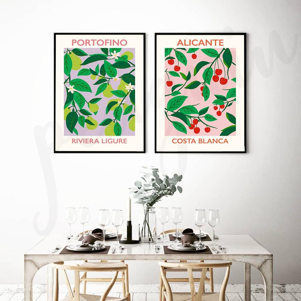 Cuadro sobre lienzo para pared de fruta y hojas, pósteres impresos para...
