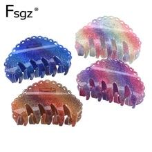 8.2 cm cabelo caranguejos para as mulheres de boa qualidade acrílico arco-íris cores onda garra clipes rabo de cavalo suportes updo ferramentas para tomar banho