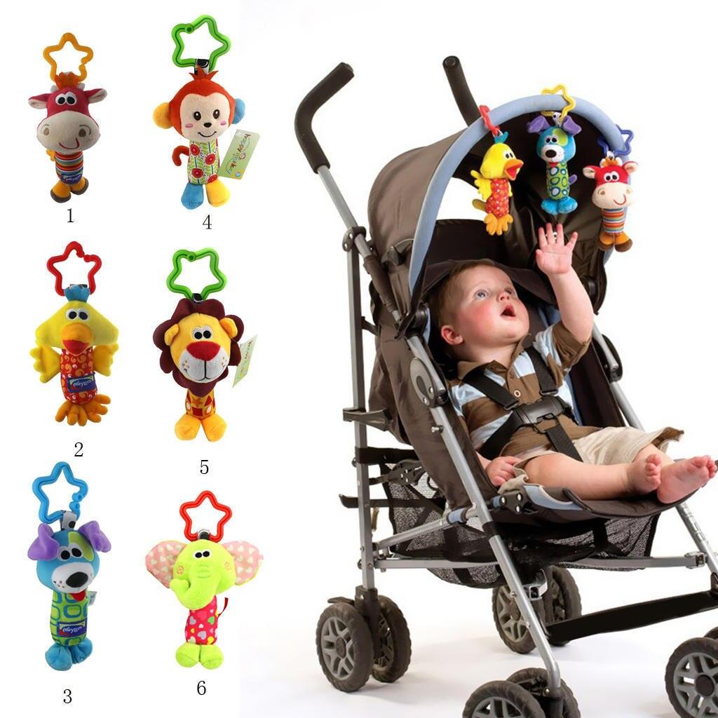 Детские погремушки для новорожденных детей, Мультяшные животные, Плюшевые Ручные погремушки для кроватки, коляски, детской кроватки, подве...