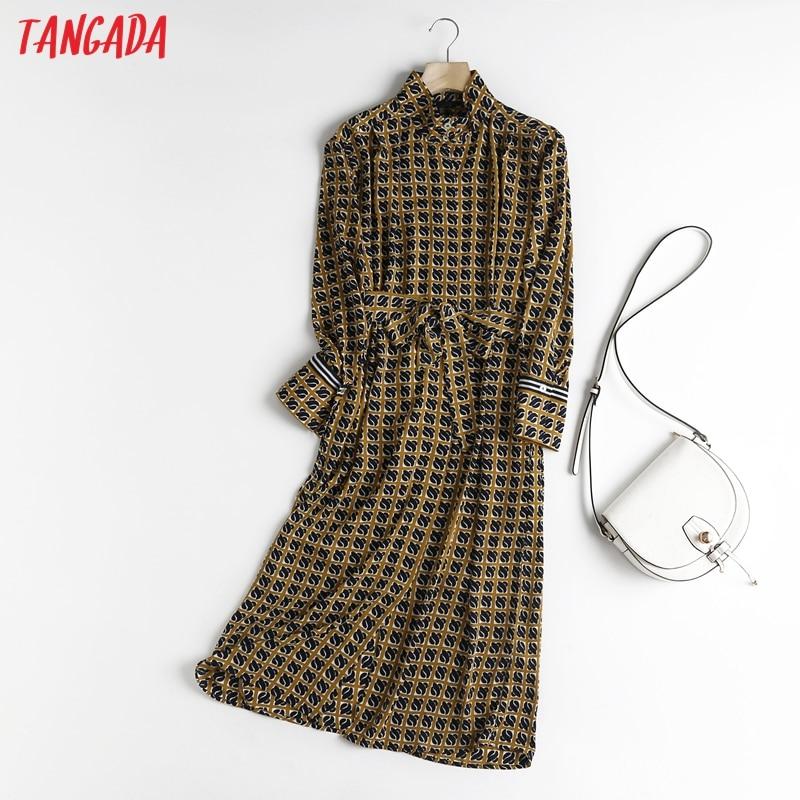 فستان حريمي أنيق من Tangada موضة 2021 مطبوع عالي الجودة ميدي مع مائل وأكمام طويلة وياقة ثابتة حريمي فستان عمل 6D39