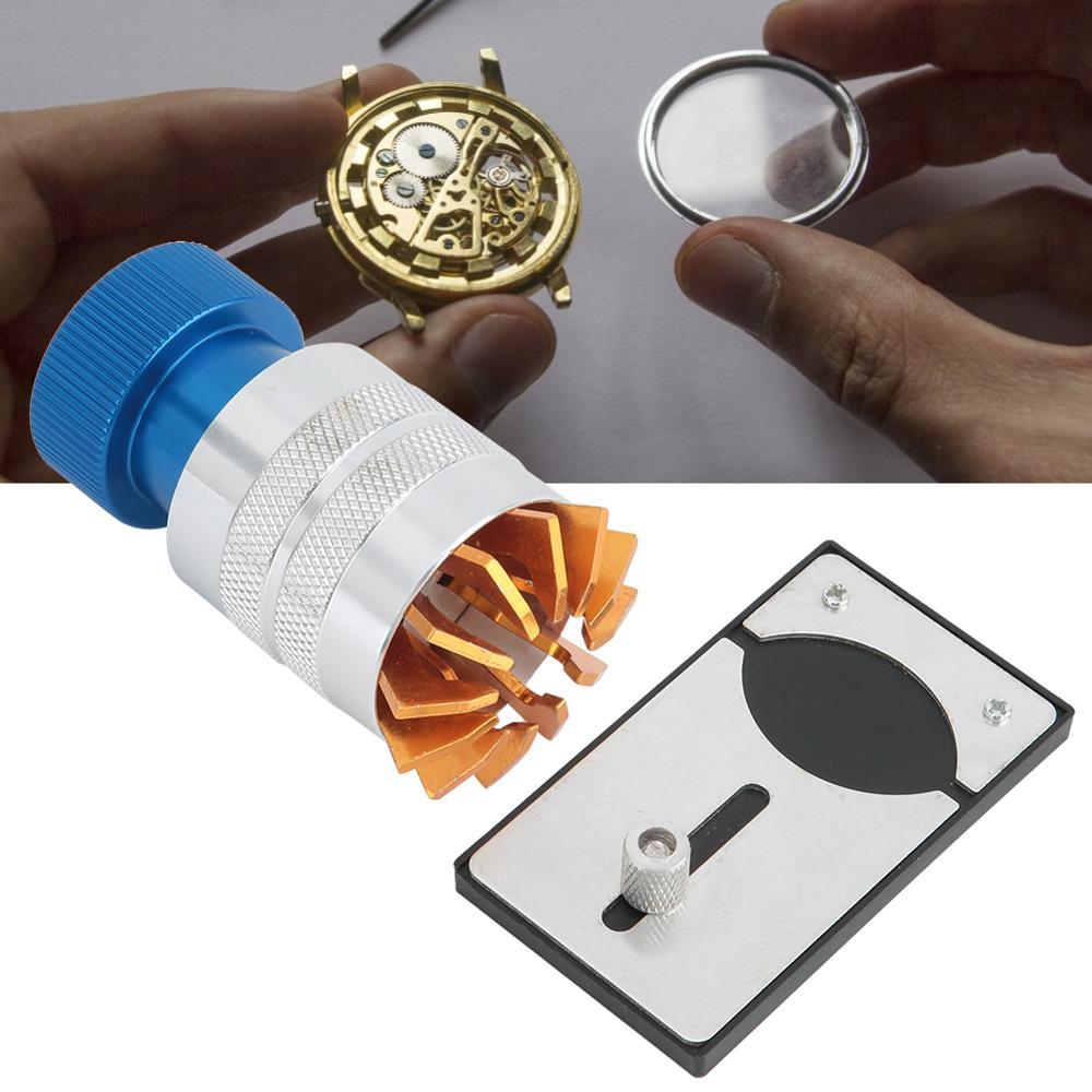 Caixa do relógio de metal capa moldura abridor removedor ferramenta winder cola máquina peças vidro substituição ferramentas reparo relógio para relojoeiros