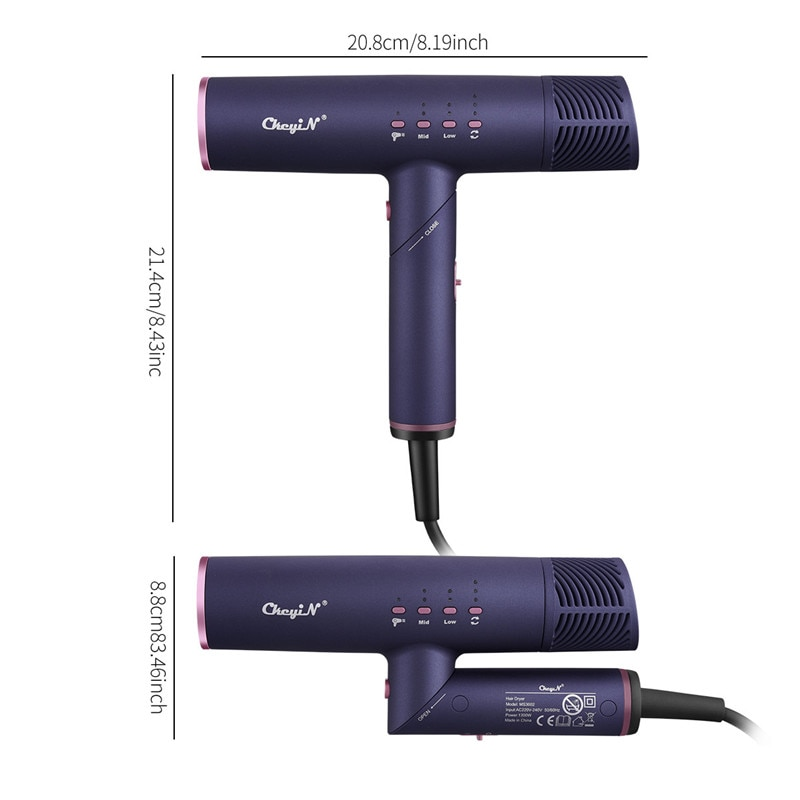 CkeyiN Foldable Hair Dryer Negative Ions Barber Salon Styling Tools Hairdryer Constant Temperature Electric Blow Dryer Diffuser enlarge
