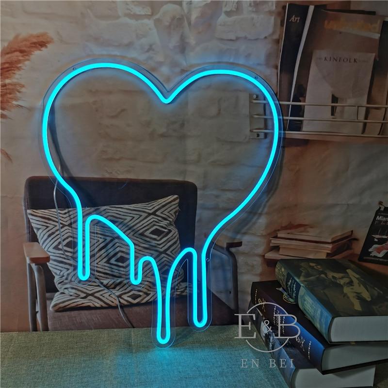 Custom Flex Led Dripping Heart Acrylic Neon Sign Girls Wall Home Room Dedroom Decoration Ins neon wall lights
