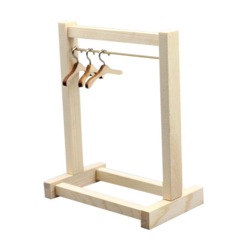 Muñeca perchero para ropa de madera de organizador perchas para bolso muñecas ropa R7RB