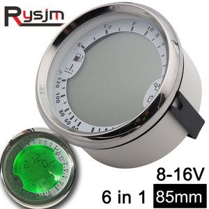 85mm GPS Speedometer 6 in 1 Multi-functional Auto Gauges Tachometer Fuel Level Water Voltmeter Temp Oil Pressure 5Bar Universal