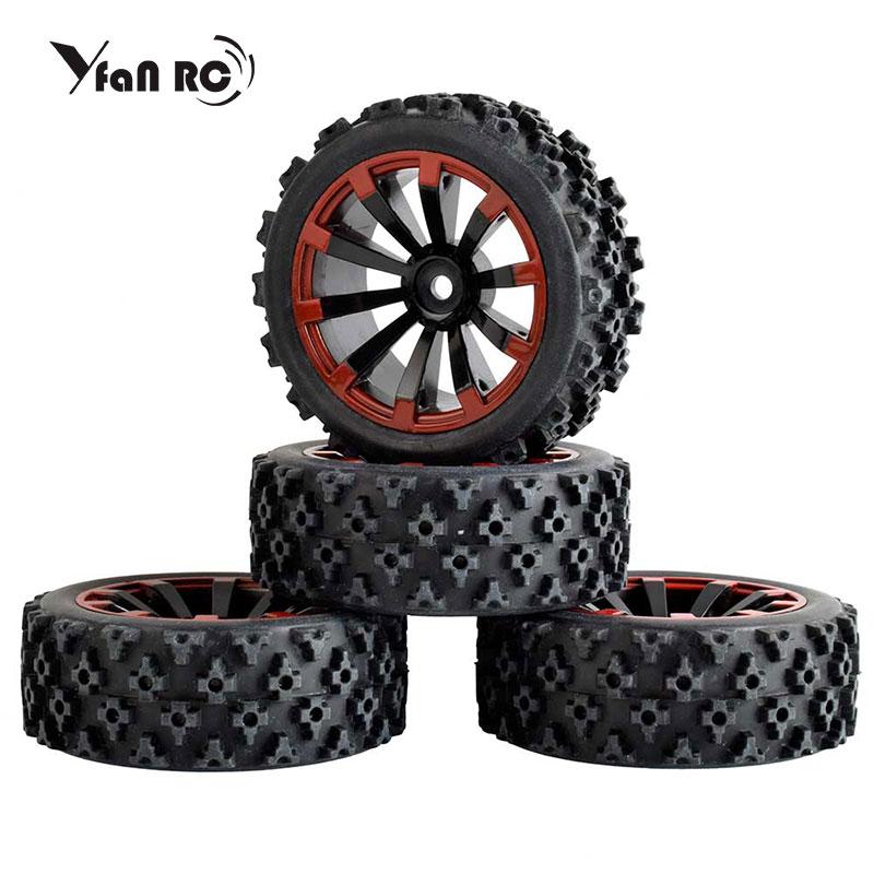 4 pces rc 1/10 rodas de buggy & pneus 12mm hex desgastar-oposição de uma esponja na estrada da corrida de estrada deserto plum blossom padrão