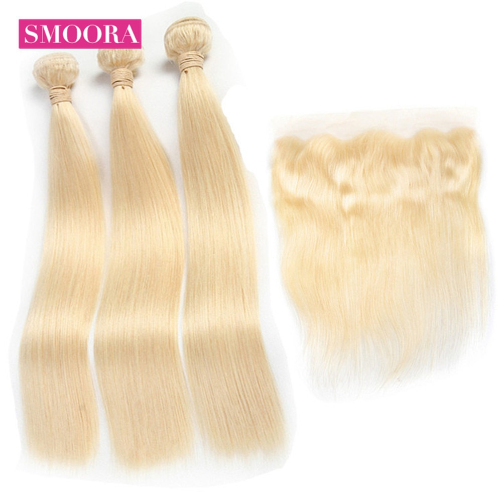 Peruvian Remy Straight Bundles with Lace Frontal Ear to Ear 13*4 Closure 613 Honey Blonde Human Hair Bundle with Frontal Smoora