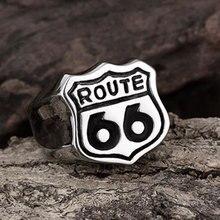 Nueva tienda 316L anillo de acero inoxidable de alta calidad USA Biker Road ROUTE 66 anillo para hombres motociclista joyería para hombres