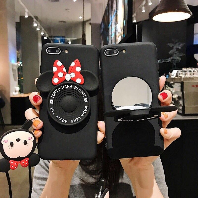 Funda de espejo de Minnie de dibujos animados para iPhone 11 11Pro Max Soft Funda para iPhone XR X XS Max 5 5S 6 6S 8 7 Plus