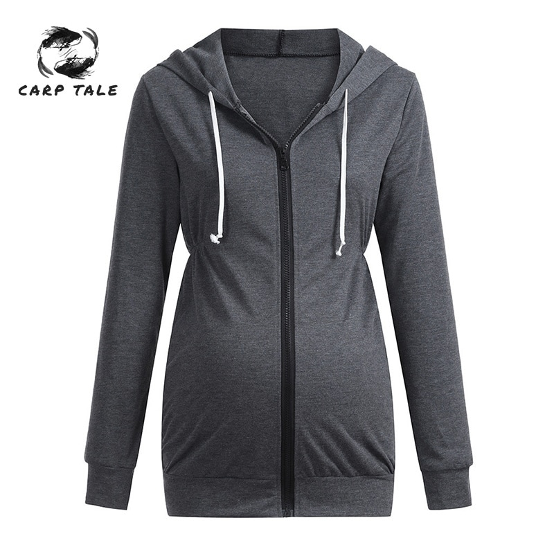 Maternity Women Hooded Jacket Women's Warm Clothes Long-sleeved Sweater Solid Color Pregnant Women Shirt Pregnant Coats enlarge
