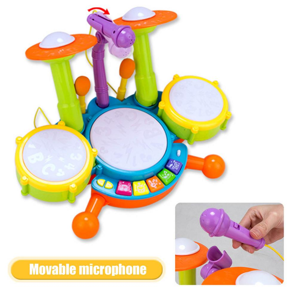 Детский барабан, музыкальные инструменты, детский барабан, набор для пианино, барабан с 2 палочками, Детские Игрушки для раннего развития, му...