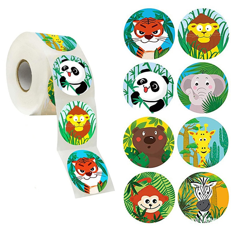 50pcs/wad Animals cartoon Stickers for kids classic toys sticker school teacher reward sticker Various styles designs pattern