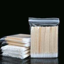 Ватные палочки длиной 7 см, 100 шт., ватные палочки с деревянной ручкой для тату и макияжа, палочки из хлопка с микролезвием, косметические ватные палочки
