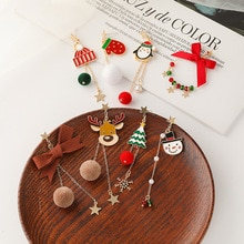 Christmas Earring Cute Asymmetric Earrings For Women Girls Gifts Trendy Elk Deer Long Earrings Santa