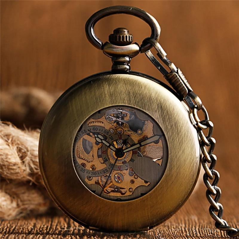 Antique Retro Skeleton Automatic Mechancial Pocket Watch for Men Women Arabic Numbers FOB Chain Luminous Hands Relgio de bolso
