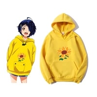 wonder egg priority ai kawaii hoodie aesthetic sun flower pocket same paragraph casual loose sweatshirts anime carton cute print