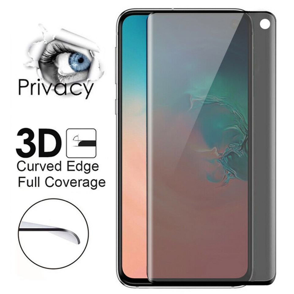 50pcs/lot Anti Peep Spy Edge Protective Glass for Samsung Galaxy S20 S10 S8 S9 Plus Note 8 9 10Pro S10E Privacy Screen Protector