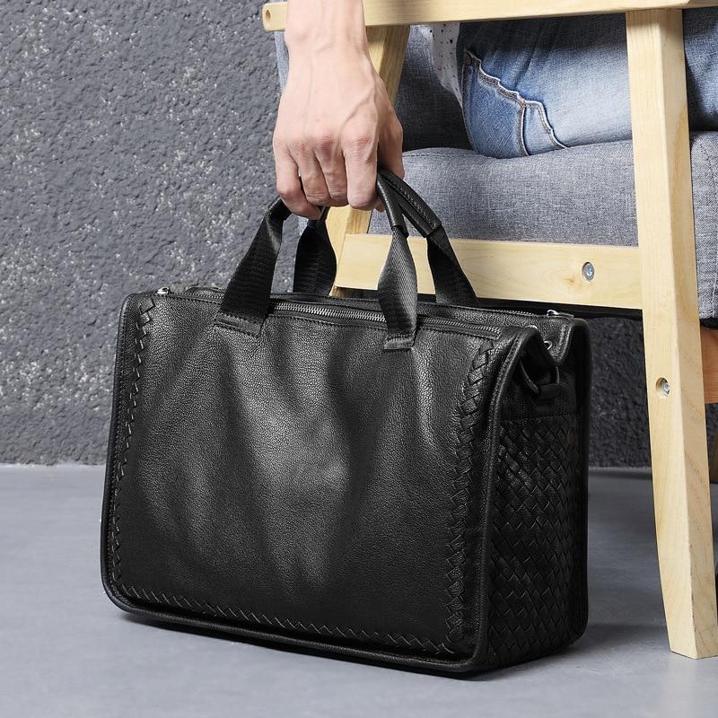 Leather Men's Bags, Business Shoulder Men's Bags, Laptop Bags, Sheepskin Briefcases, Woven Messenger Bags, Men's Leather Bags